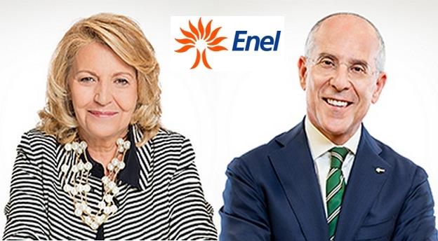 Patrizia Grieco (stânga), președintele Consiliului de Administrație al Enel, și Francesco Starace (dreapta) directorul general executiv al grupului. Sursă foto: Enel.