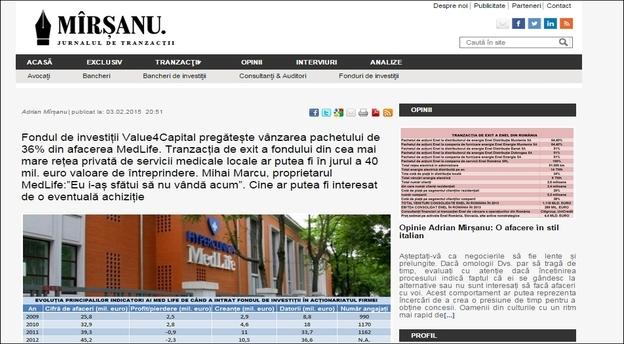 Captura cu articolul din 3 februarie prin care jurnalul de tranzacții MIRSANU.RO anunța în premieră tranzacția de exit a fondului de investiții Value4Capital din afacerea Medlife