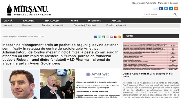 Captura foto cu articolul despre tranzacția dintre Amethyst și Mezzanine Management, anunțată în premieră de către jurnalul de tranzacții MIRSANU. RO pe 27 aprilie