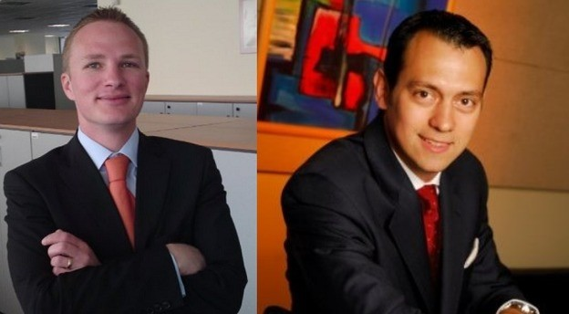 Răzvan Vedel (stânga) preia poziția de șef al portofoliului de clienți mari corporații din UniCredit Bank, deținută până în luna septembrie de către Ciprian Păltineanu (dreapta), care urcă în centrala băncii din Viena