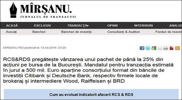 Captură site cu articolul publicat de jurnalul de tranzacții MIRSANU.RO pe 13 aprilie 2016 privind listarea afacerii RCS & RDS pe bursa de la București