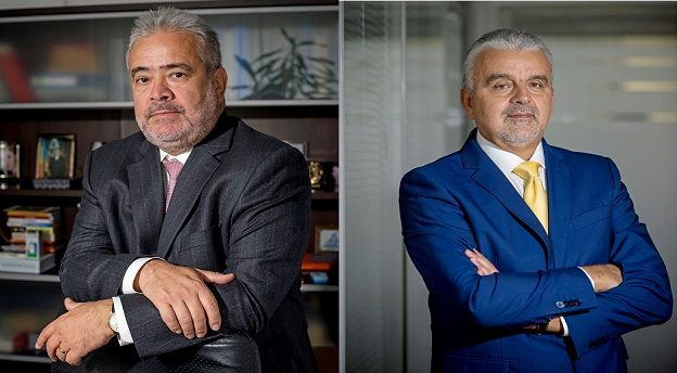 Horia Manda, șeful Axxess Capital și președintele Patria Bank (stânga), Bogdan Merfea, directorul general al Patria Bank. Sursă foto: Patria Bank.