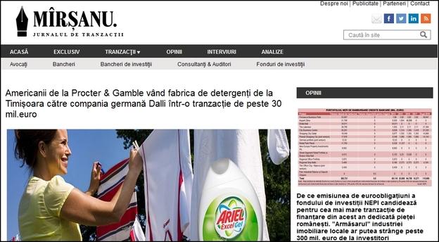 Captura articolului publicat pe 12 noiembrie de jurnalul de tranzacții MIRSANU.RO care anunța în premieră vânzarea fabricii de detergenți de la Timișoara de către P&G către Dalli din Germania