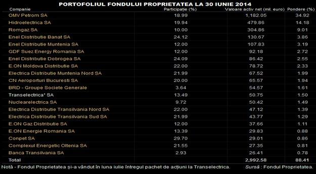 Tabelul prezentat mai sus include cele mai mari dețineri din portofoliul Fondului Proprietatea. În total, FP avea la 30 iunie 58 de companii în portofoliu.